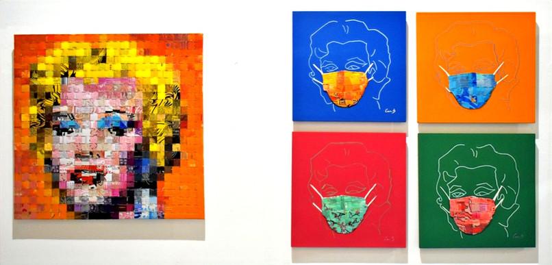 Marilyn (0,50x0,50m – canettes sur PVC – 2020) et 450 ans ( 0,30x0,30m – canettes sur bâche et acrylique sur médium – 2020)