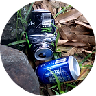 Canettes dans la nature Cans in nature upcycling art