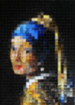 Jeune Fille à la perle - avec masque COVID 19 - canettes Upcycling Vermeer détournement