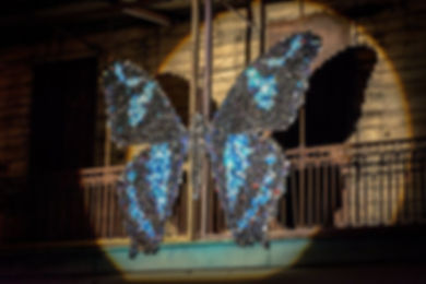 Blue Wings - installation canettes par Can B