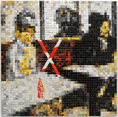 Distanciation : 1,00x1,00m – canettes sur PVC – 2020
