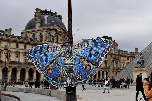 Rhadama butterfly Louvres Paris cans upcycling art Junionia rhadama