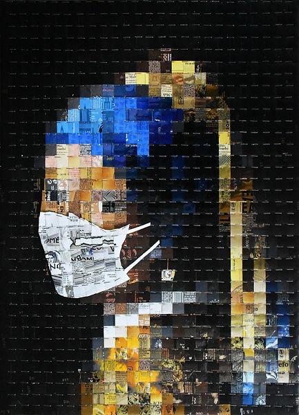 Jeune Fille à la perle - avec masque COVID 19 - canettes Upcycling
