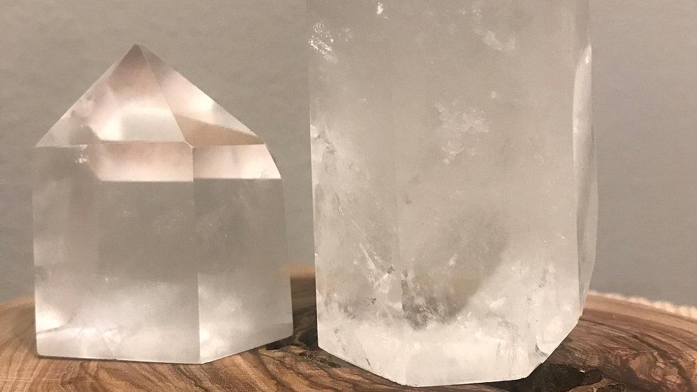 clear quartz tower