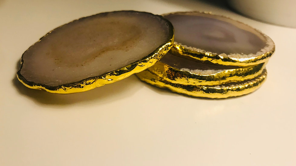 small agate coasters + gold glided edge