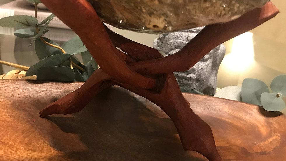 redwood carved tripod