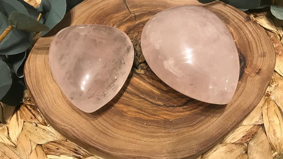 large rose quartz palm stone