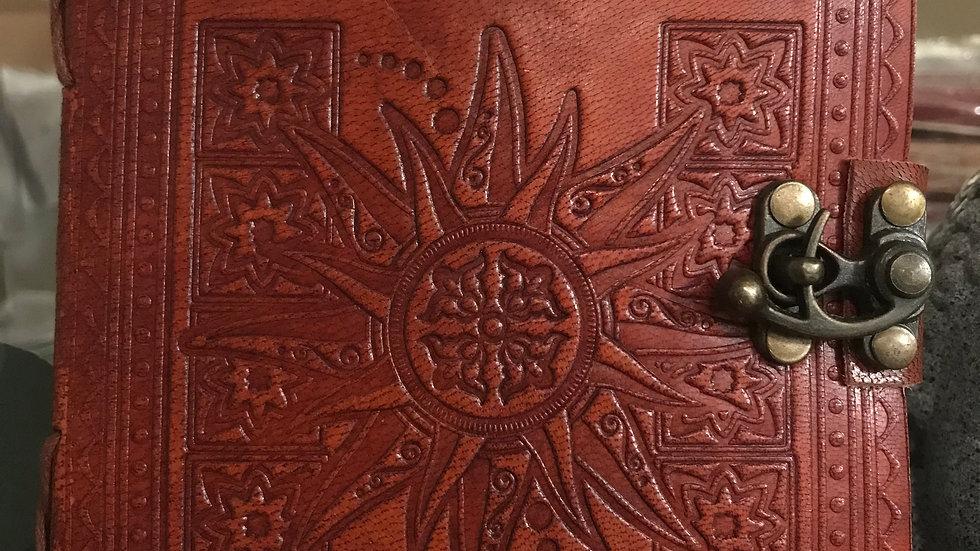 sun leather journal + latch closure