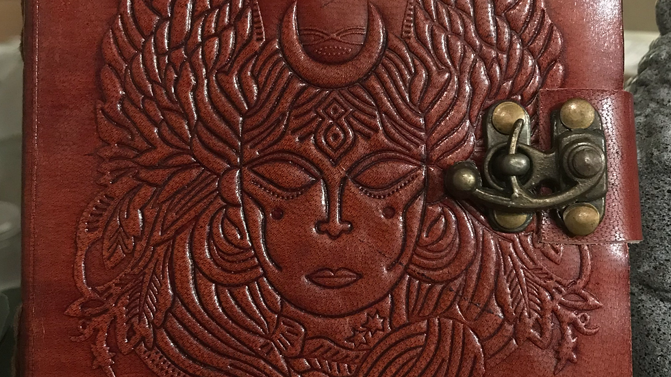 moon goddess leather journal + latch closure