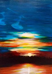Coucher de soleil - Acrylique sur toile