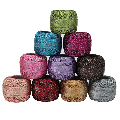10 X Sparkly Colourful Glitter Cotton Crochet Thread Set By Curtzy