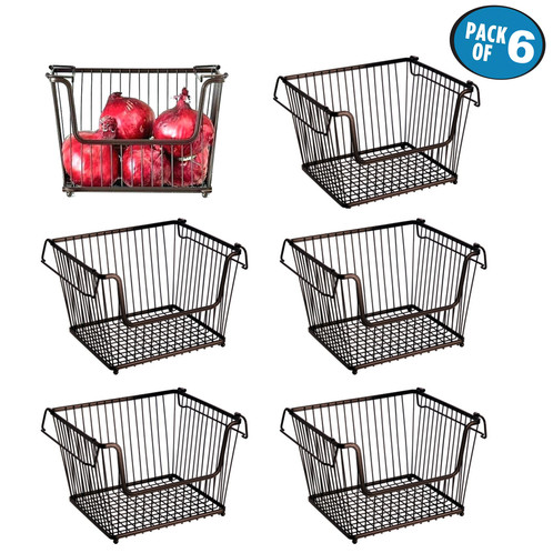 6 Pack Of Black Metal Wire Frame Storage Baskets By Kurtzy With This Set,  You Will Be Able To Create An Aesthetically Pleasing And Organised Pantry.