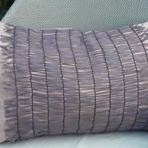 Beige linen with grey lattice cushion 51x30cm