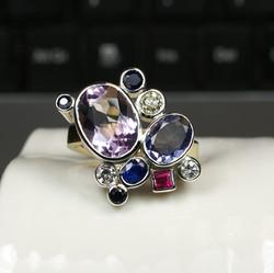 Multi Coloured Champagne Ring