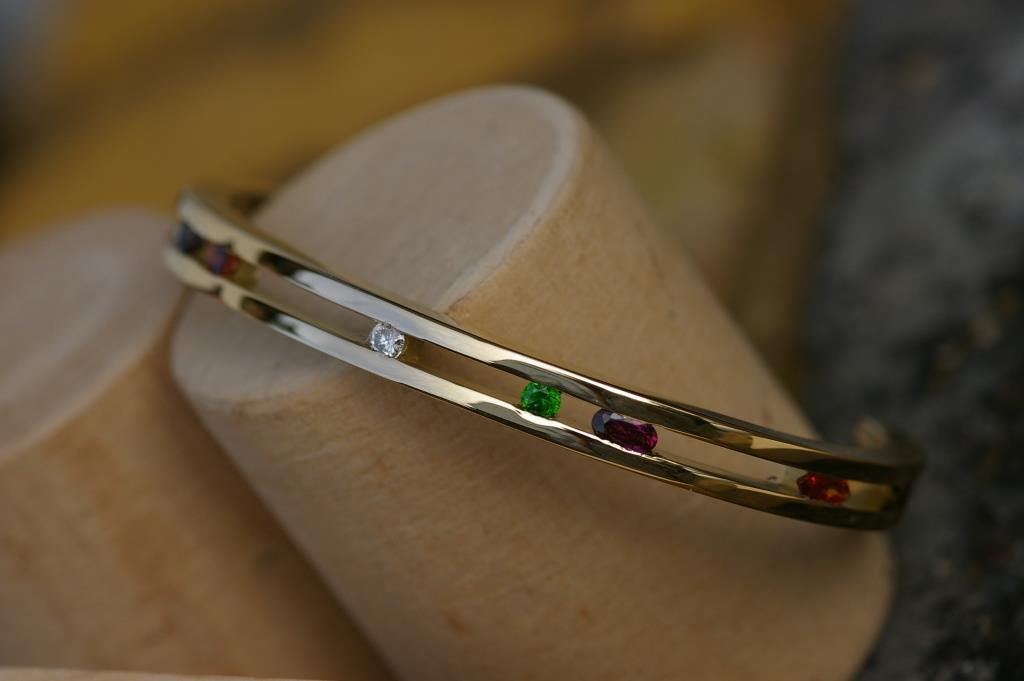 Ladder Bangle with Garnets