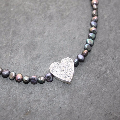 PATTERNED HEART WITH PEARLS