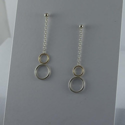 Silver & Gold Circle Earrings