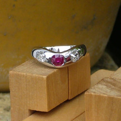 Ruby and 2 Diamond Ring