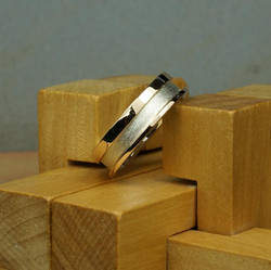 Silver and 18ct Rose Gold Step ring