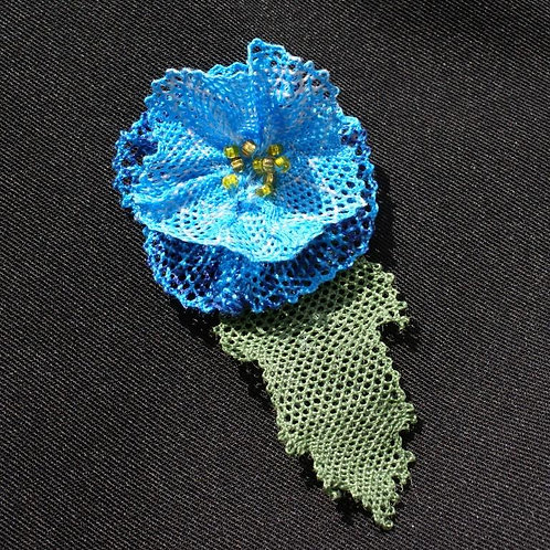 BLUE HIMALAYAN POPPY BROOCH