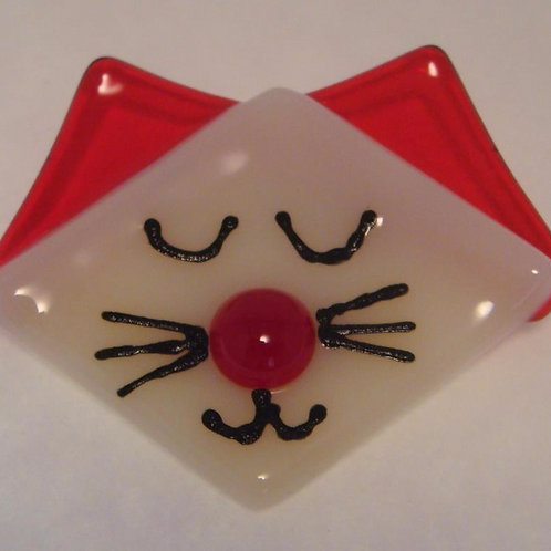 Cat brooch - Red