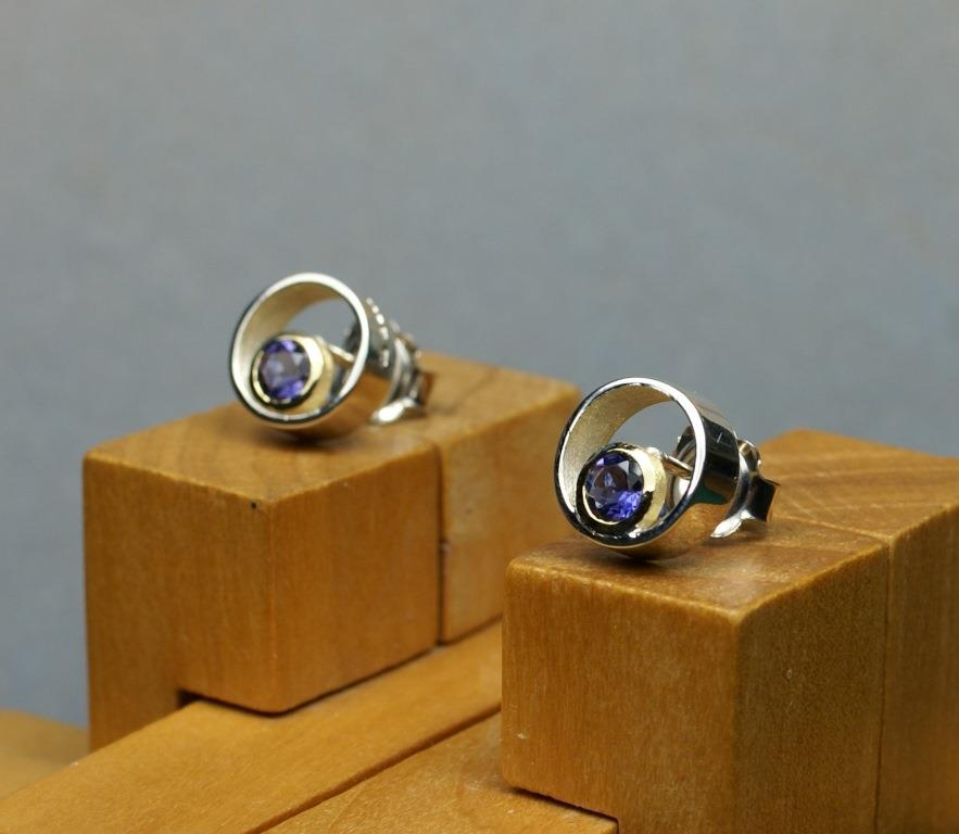 Circle & Dot Earrings with Iolites