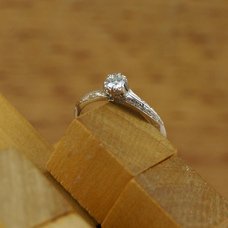 Diamond ring with engraving