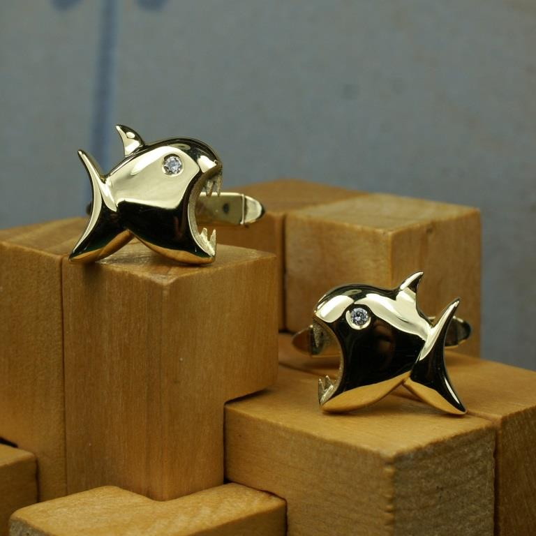 18ct & Dia Shark Cufflinks