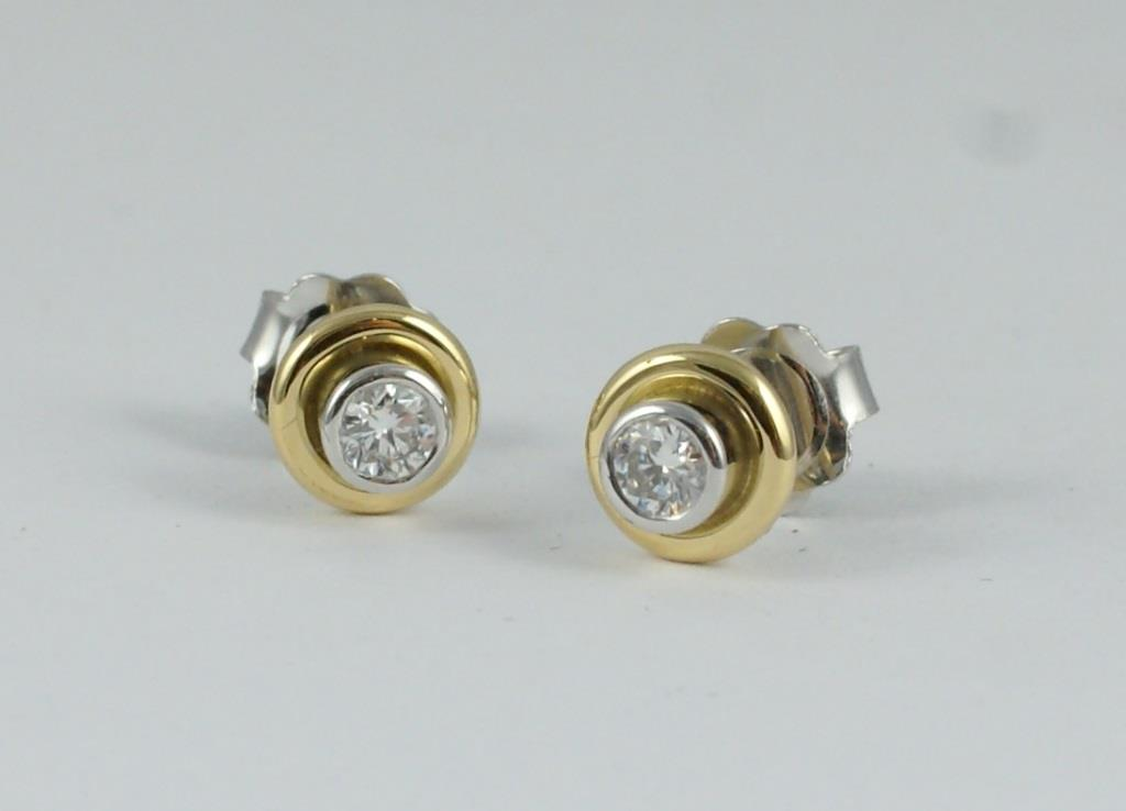 Double Stud Earrings with Diamonds