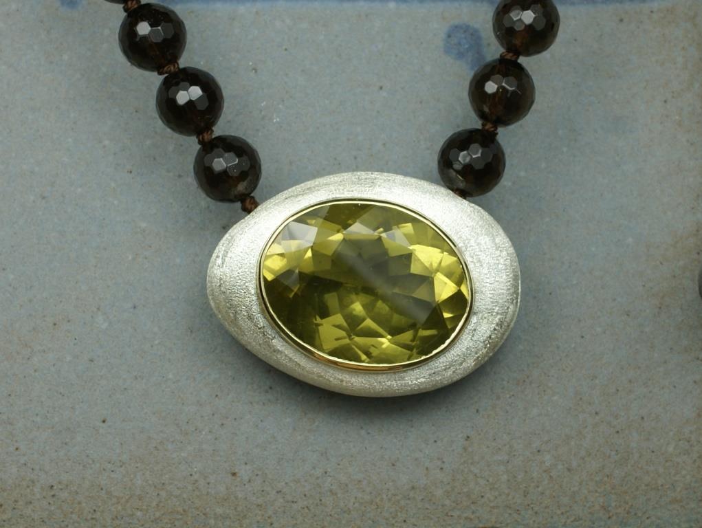 Lemon Quartz Pebble Pendant