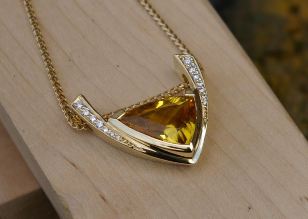 Yellow Beryl and Diamond Pendant
