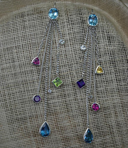 Drop Earrings with Coloured Stones