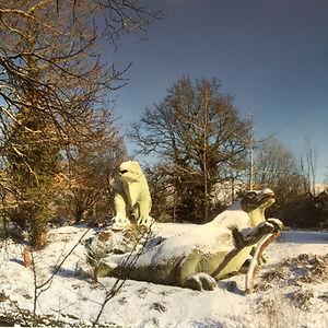 Crystal Palace Park Dinosaur Snow Photo
