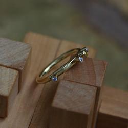 Tubular Ring with 4 Diamonds