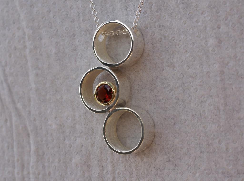Garnet Triple Circle & Dot Pendant
