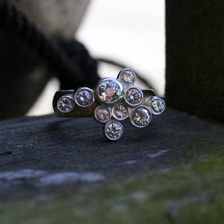 Gold, Silver & Dia. Champagne Ring