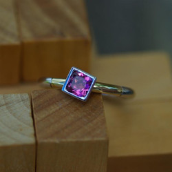 Sections Ring with Pink Tourmaline