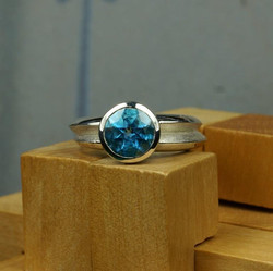 Double Ring with Blue Topaz