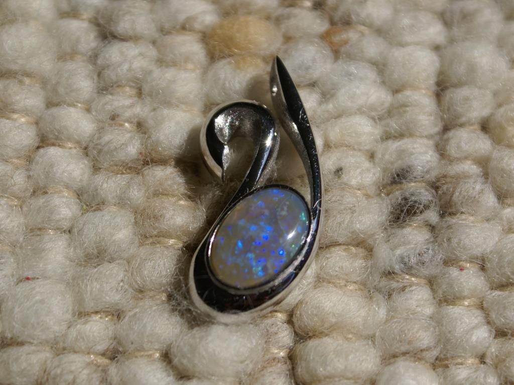 Opal Swan Pendant