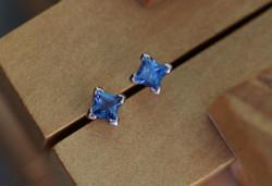 Princess-cut Sapphire Claw Earrings