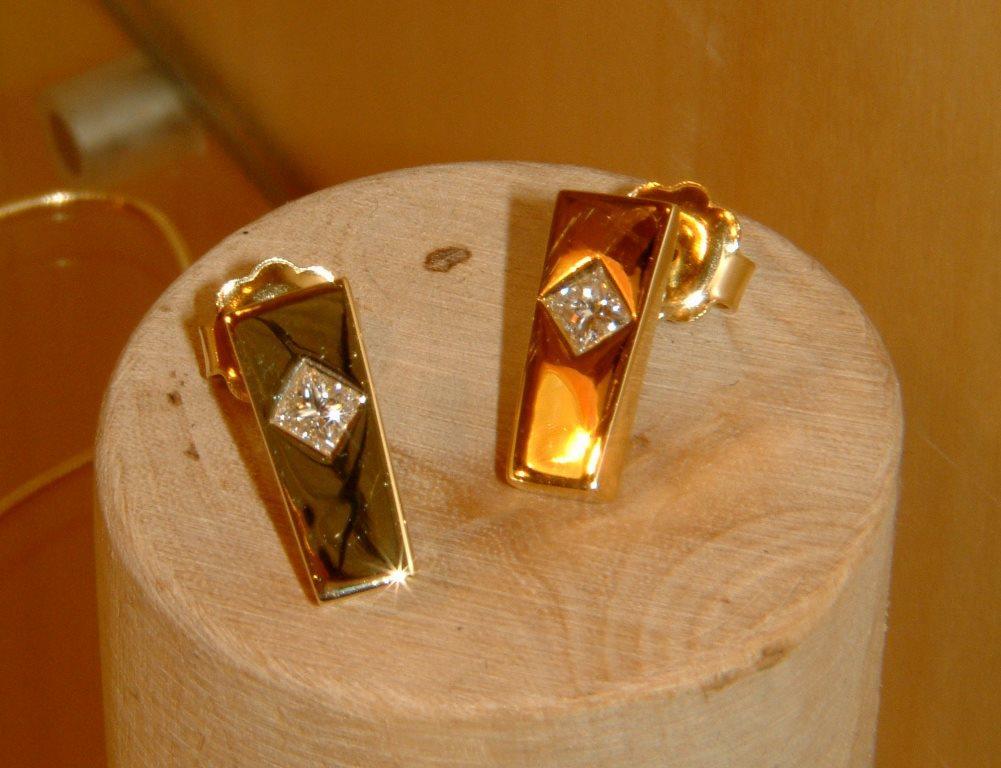 Obelisk Earrings with Diamonds