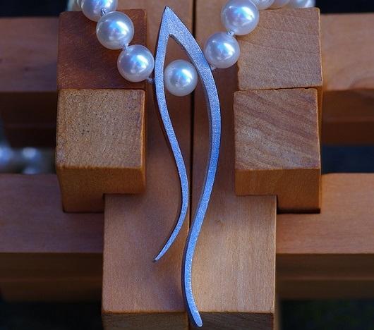Long Grasses Pendant on Pearls