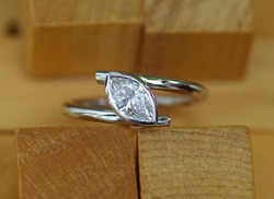 Mini Cross-over Ring with Marquise