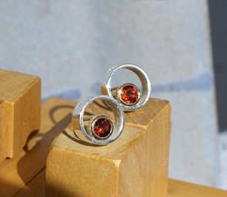 Circle & Dot Earrings with Garnets