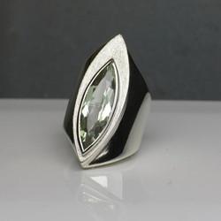 Silver Ring w. Green Amethyst
