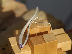 Long Grasses Earrings w. 3 Amethysts