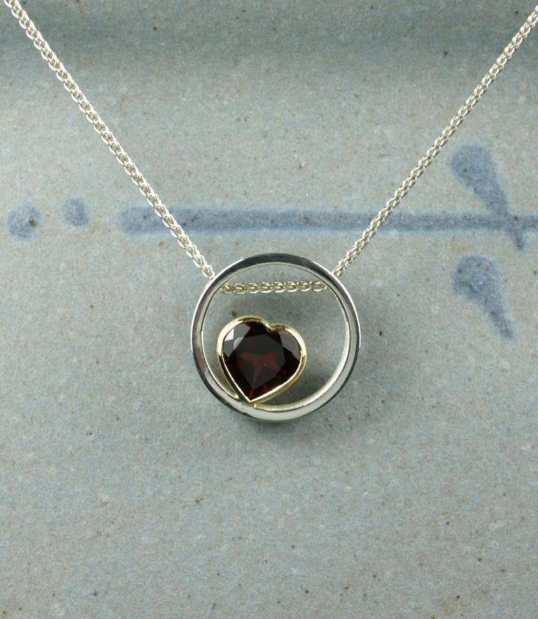Circle & Dot Pendant with Garnet