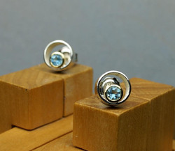 Circle & Dot Earrings with Blue Topa
