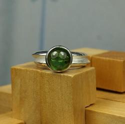 Double Ring w. Green Tourmaline