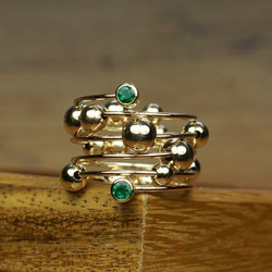 Spiral Ring with Emeralds